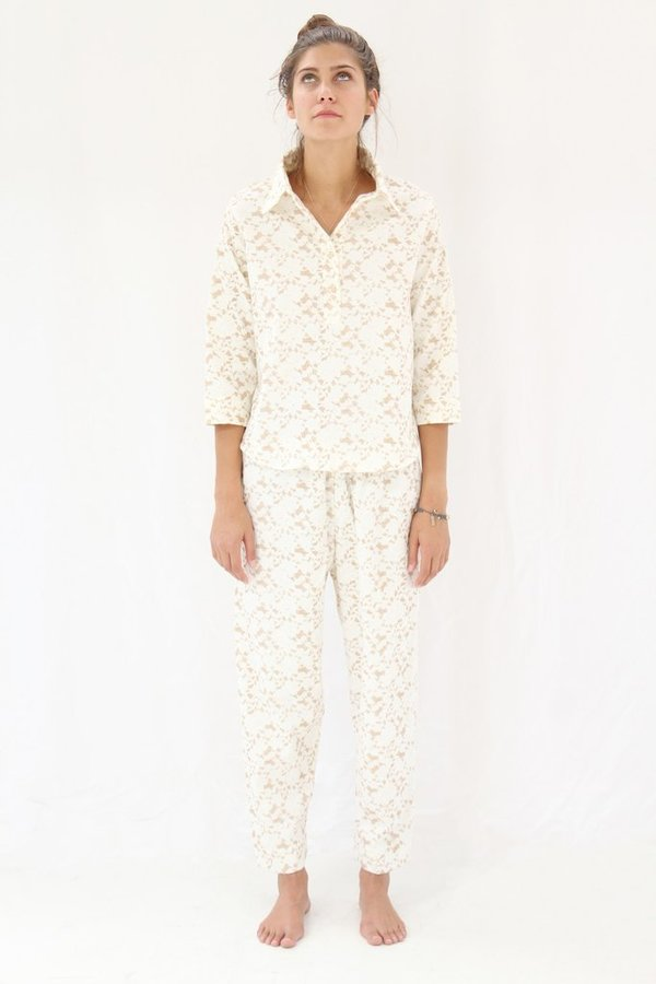 Lina Rennell Organic Cotton Flannel Pajama Set / Brown Lace