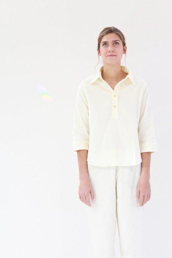 Lina Rennell Organic Cotton Flannel Pajama Set Ivory