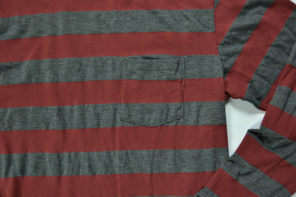 VELVA SHEEN - STRIPED LONG SLEEVE POCKET TEE / BURGUNDY & CHARCOAL