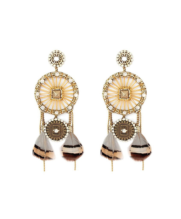 Deepa Gurnani Joelle Woven Feather Earrings