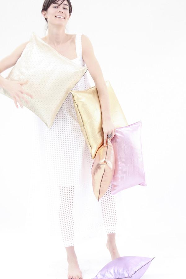Beklina Metallic Pink Pillow Zig Zag