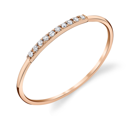 Gabriela Artigas 14K Mini Axis Pave Rose Ring