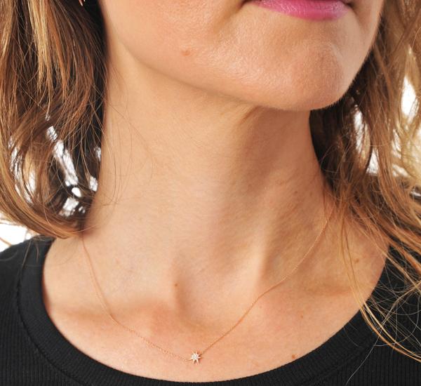 Gabriela Artigas 14 Rose Gold Single Pave Star Necklace