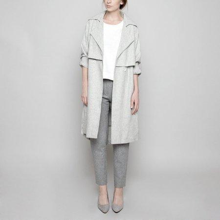 7115 by szeki Light Grey Wool Trench Coat