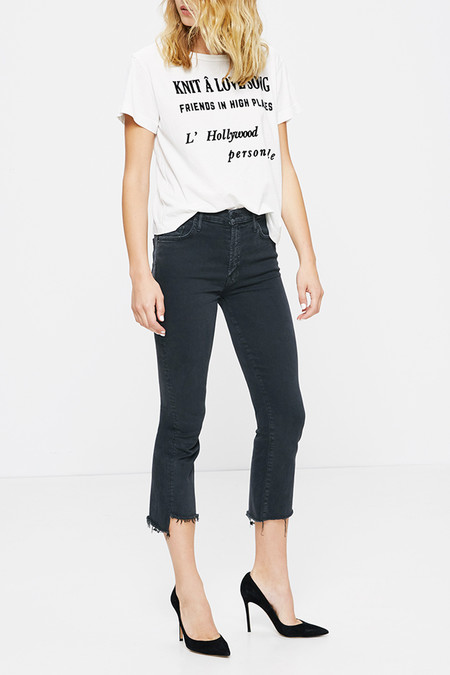 Mother Denim Insider Crop Step Fray | Faded Black