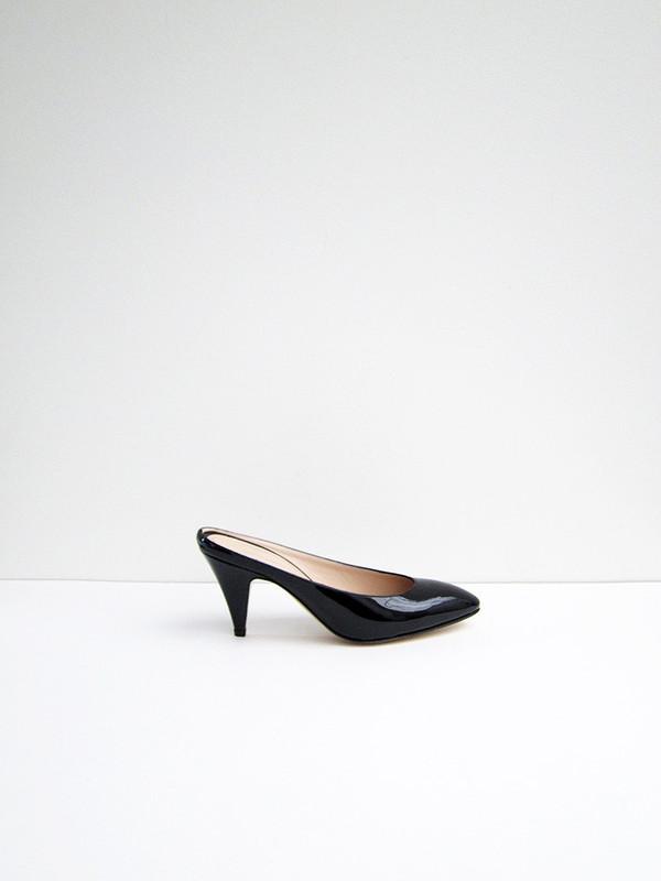 Mansur Gavriel Classic Heel Slipper, Black Patent