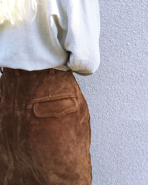 Vintage Button Front Suede Skirt