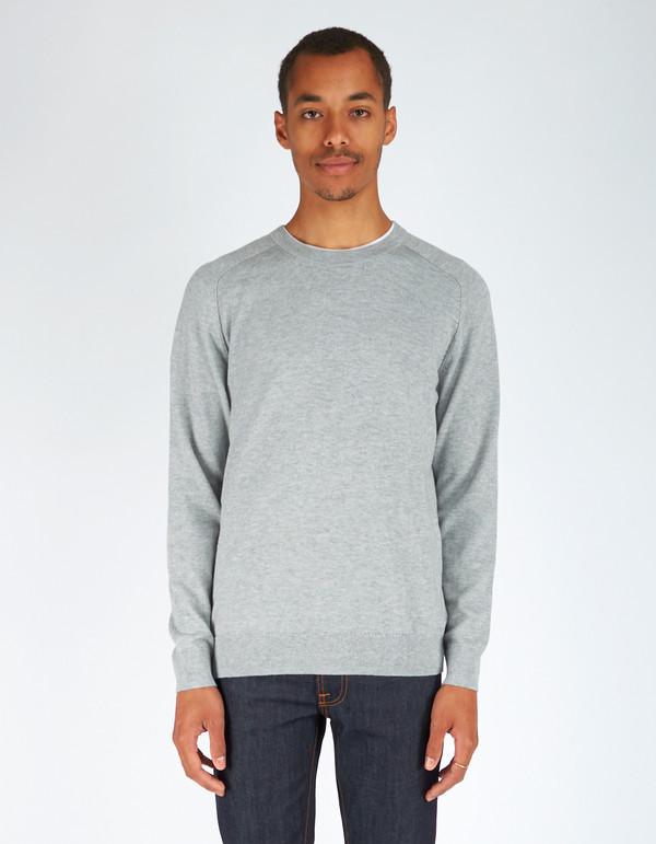 Men's Filippa K Cotton Merino Sweater Light Grey Melange