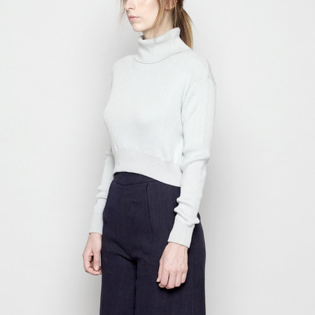 7115 by Szeki Lightweight Fitted Cropped Sweater - Mint FW16