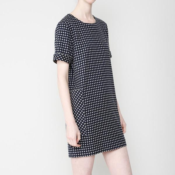 7115 by Szeki Pocket Shift Dress- Plaid FW16