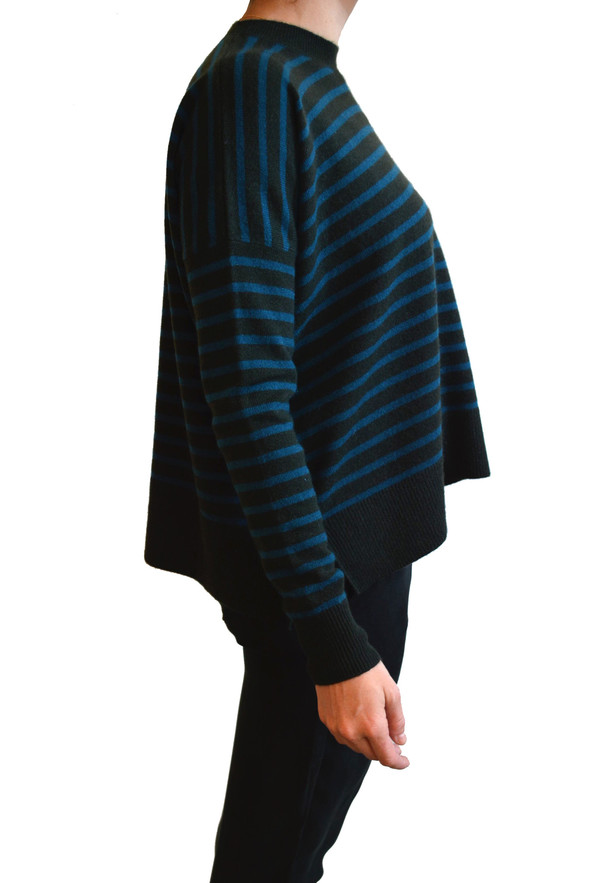 Demylee - Bennie Cashmere Striped Sweater (Olive & Eclipse Stripes)