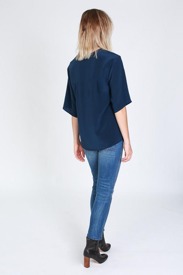 Vincetta Asymmetrical Placket Shirt in navy