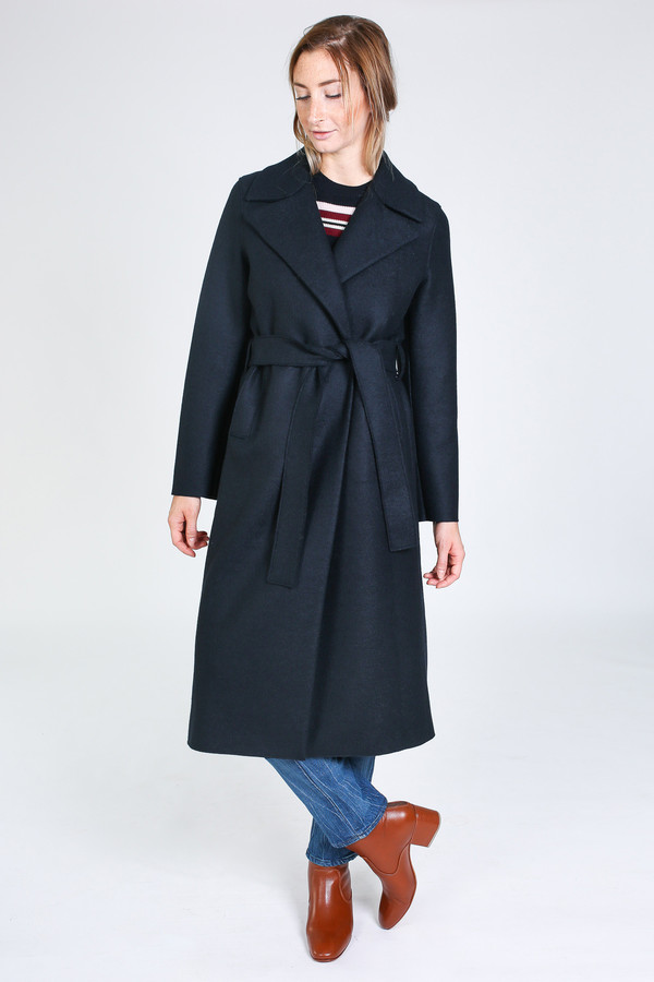Harris Wharf London Boxy Duster Coat in dark blue