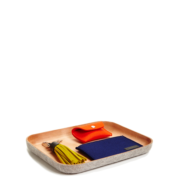 Unisex Graf & Lantz Large KAWABON Tan Leather & Granite Felt Tray