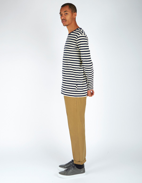 Men's Neuw Stripe Long Sleeve Tee Navy Stripe