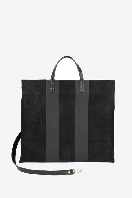 Clare V. Simple tote in black with suede stripe
