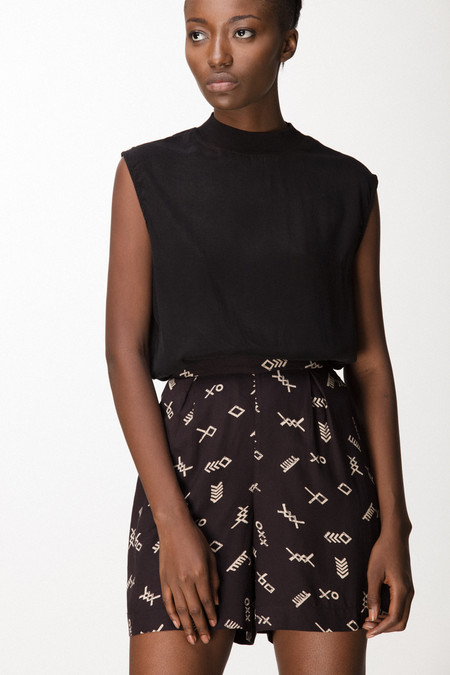 Osei-Duro Lorem Shorts in Black Jot