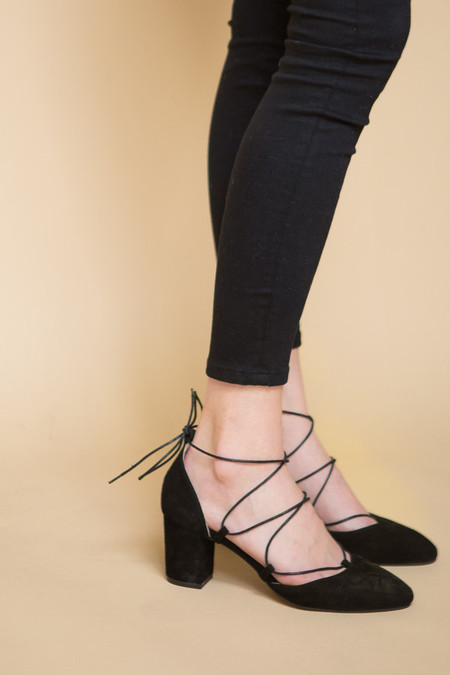 Intentionally Blank Hatter Suede Heel - Black