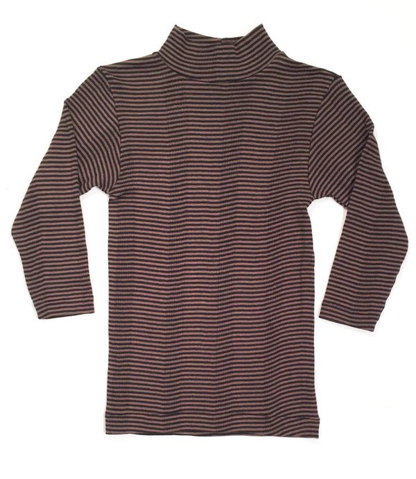Curator Ida Stripe Mock Neck Top - Black/Brown