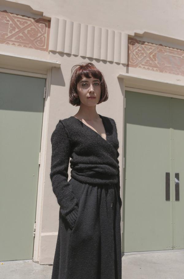 A Détacher Tiara Wrap Sweater in Black