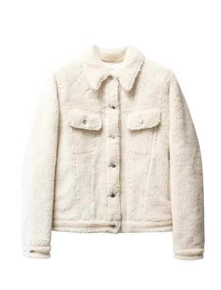 MM6 by Maison Margiela Womens Teddy Bear Denim Jacket Ecru