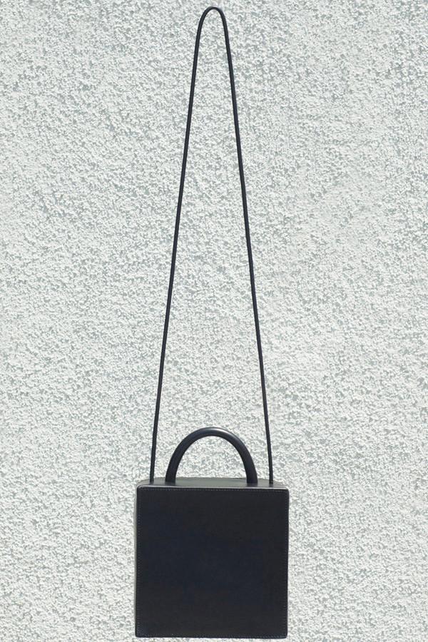 Building Block Leather Box Bag - Black