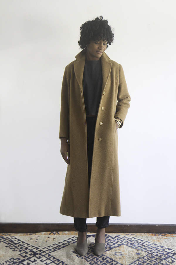 Rawson Vintage Long Camel Coat with hidden button