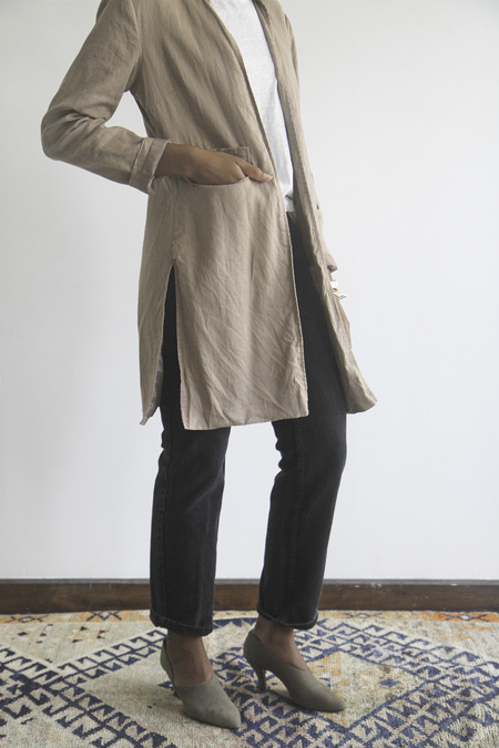 Rawson VintageBrown Linen Overcoat with Mandarin collar