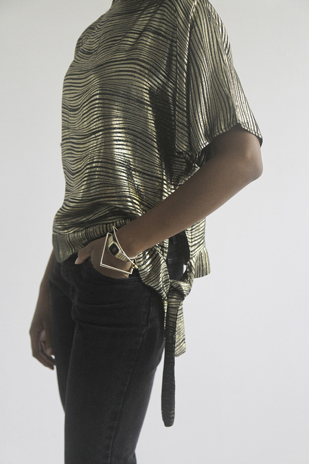 SomeLikeUs Vintage Wavy Metallic Zebra Side Tie Top