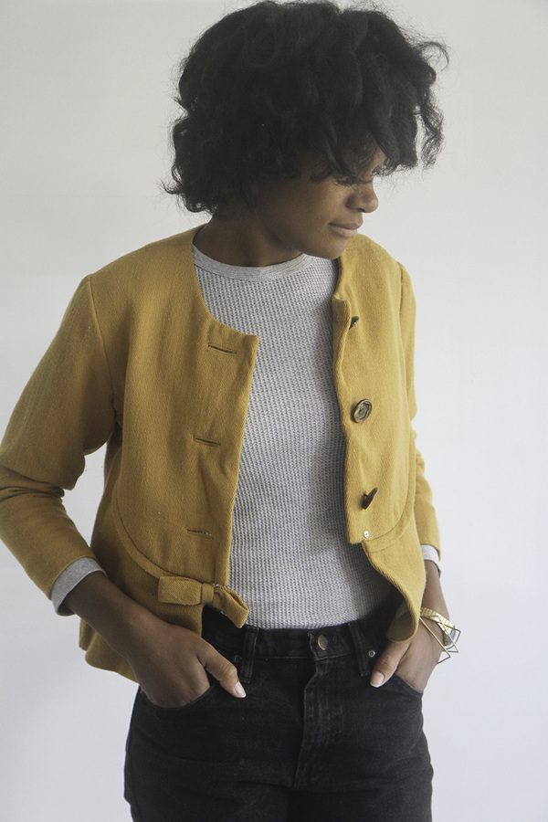 The Shudio Vintage Cropped Mustard Bow Jacket