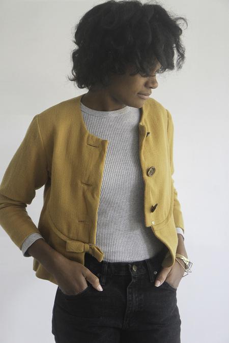 The Shudio Vintage Cropped Mustard Bow Jacket