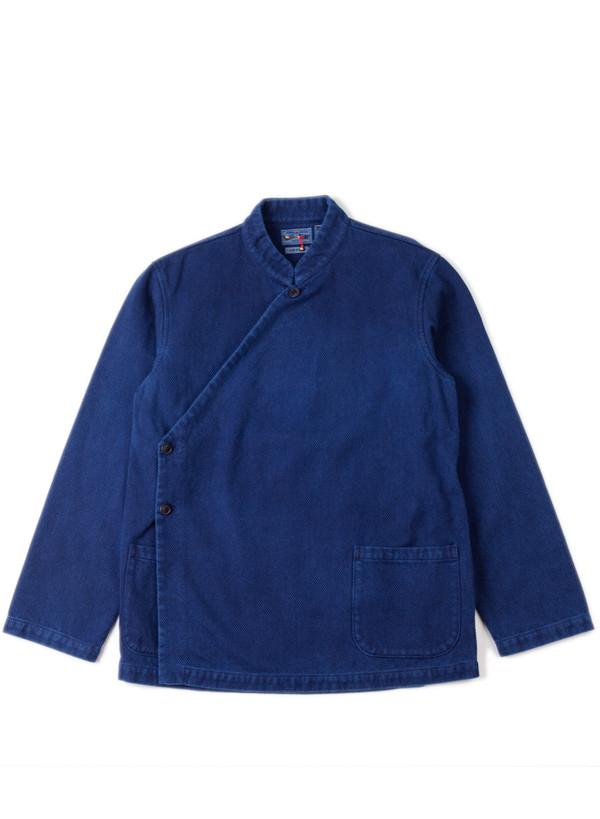 """Men's Blue Blue Japan Indigo Hand Dyed Small """"Sashiko"""" Kurta Jacket"""