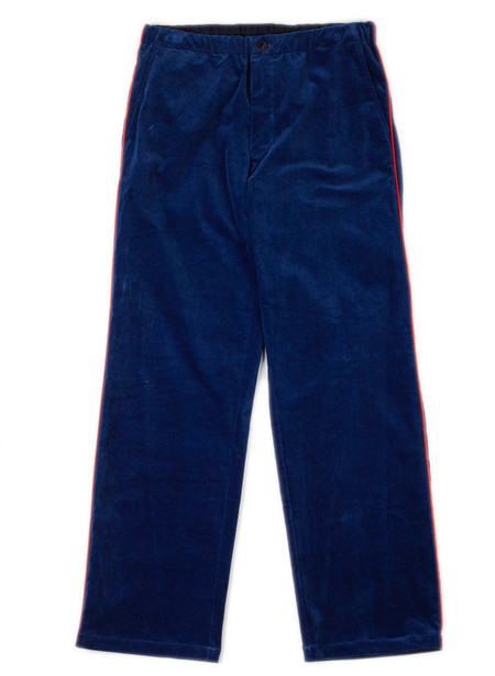 Men's Blue Blue Japan Woven Indigo Stretch Velour String Pants