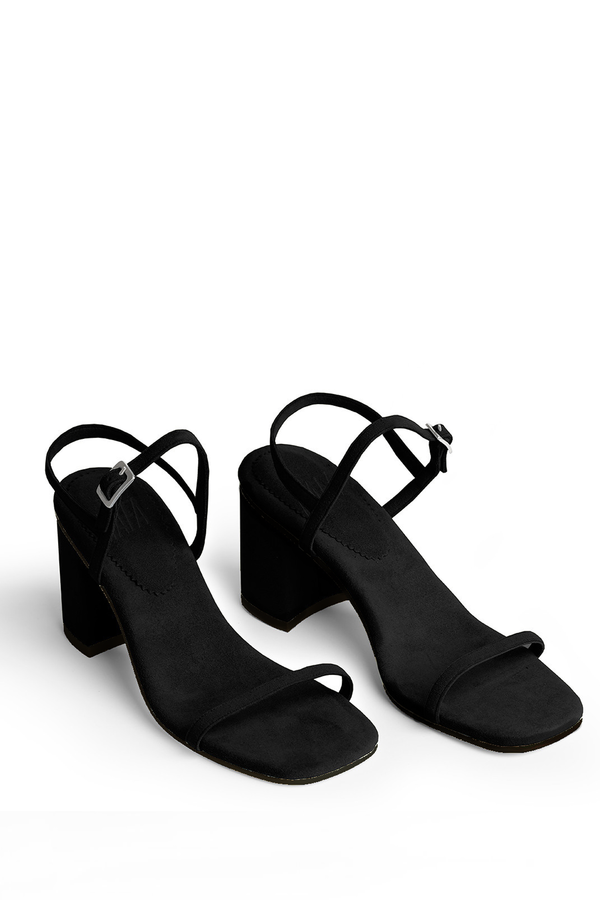 Rafa Vegan Suede Simple Sandal - Black