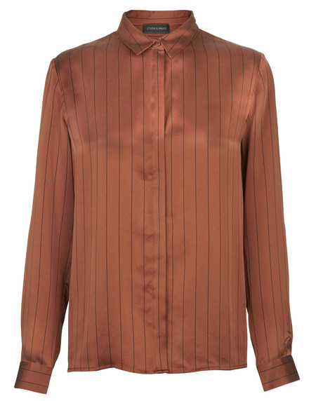 "Storm + Marie ""Fazela"" Silk Striped Blouse"