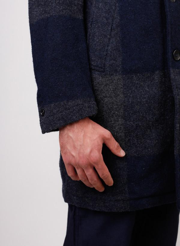 Men's Engineered Garments Chester Coat Dk. Navy/Grey Big Plaid Melton