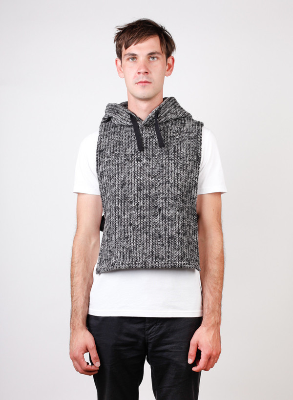 Hooded Interliner Grey Sweater Knit