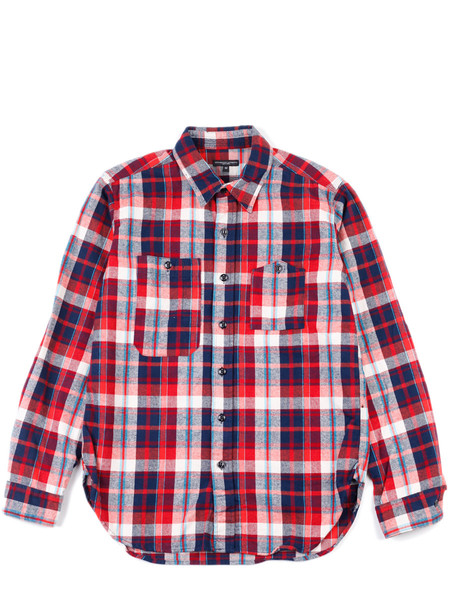 Men's Engineered Garments Work Shirt Red/Navy/Turq Plaid Flannel