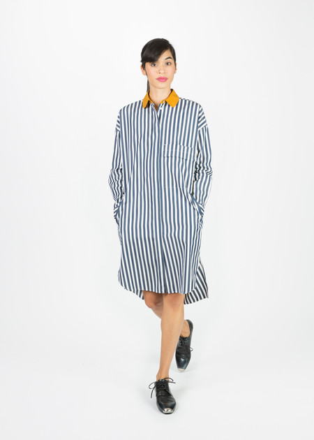 Odeeh Contrast Collar Shirtdress