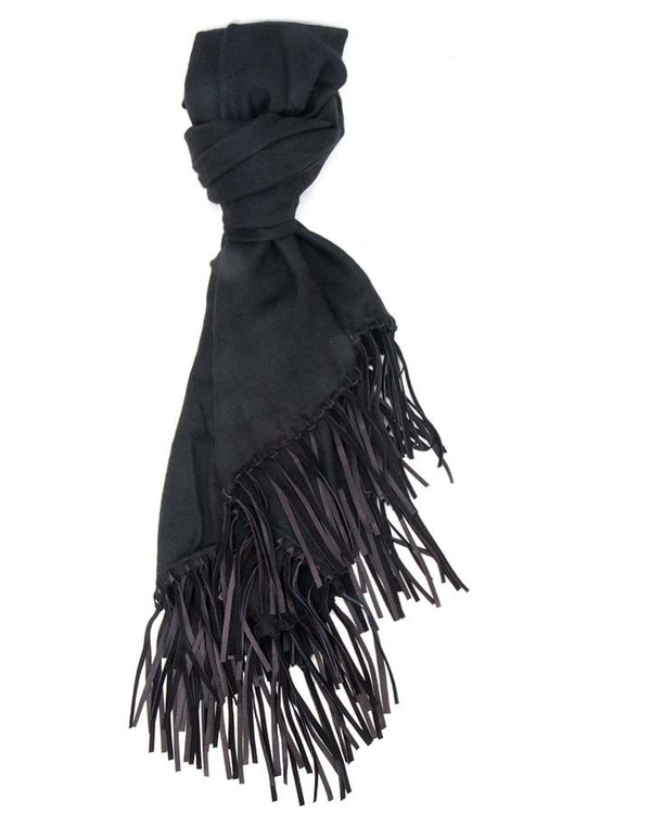 A Peace Treaty Handwoven Aletha Scarf in Black with Leather Fringe