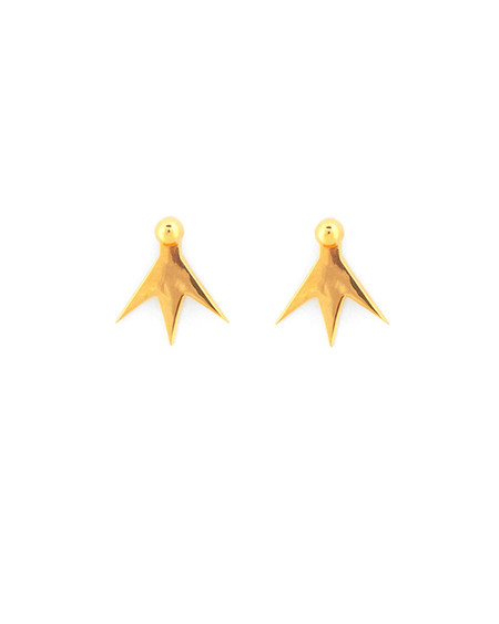 A Peace Treaty Sholo Hanging Star Earrings in Gold Plated Brass