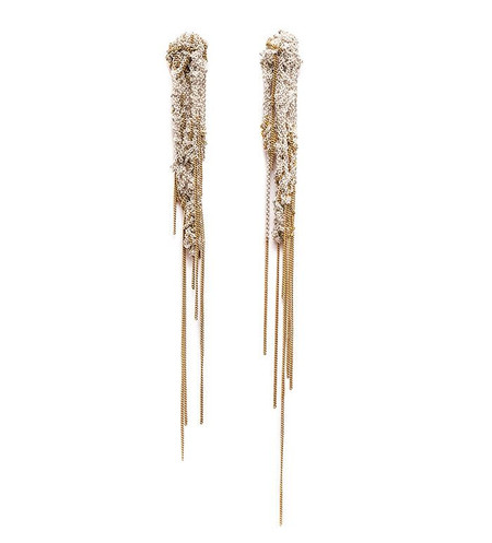 Arielle De Pinto Hairy Drip Earrings in Silver + Gold