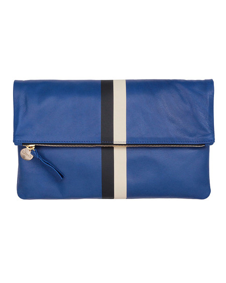 Clare V. Foldover Clutch in Ultramarine Stripe