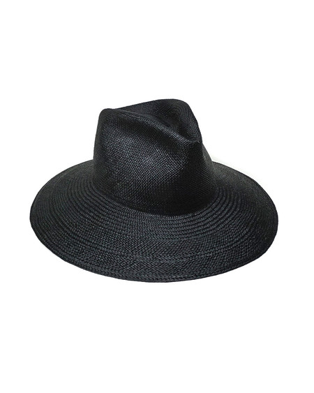 Clyde Panama Pinch Hat in Black Straw