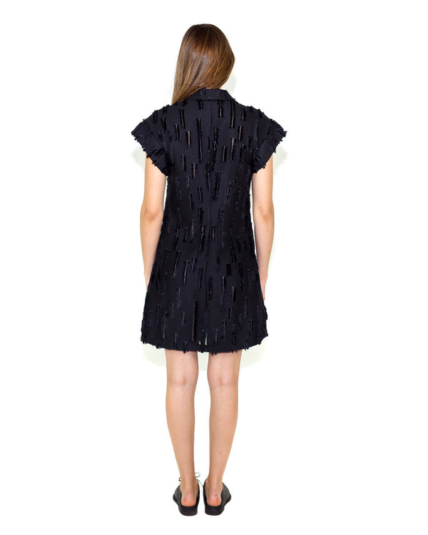 Creatures of Comfort Agatha Dress in Black Slash Viscose