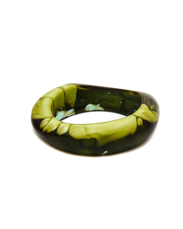 Dinosaur Designs Medium Bones Bangle in Malachite Swirl