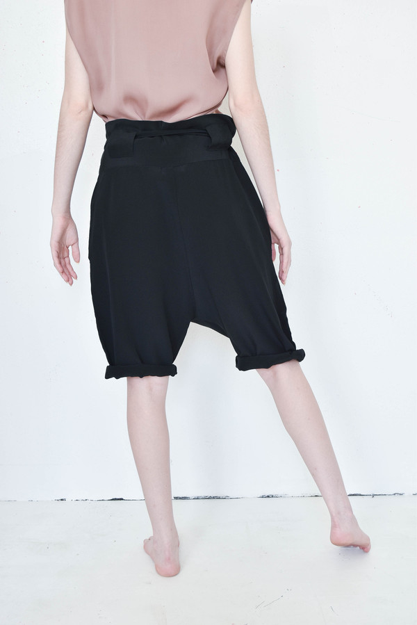 Evens Obi Shorts in Black Silk