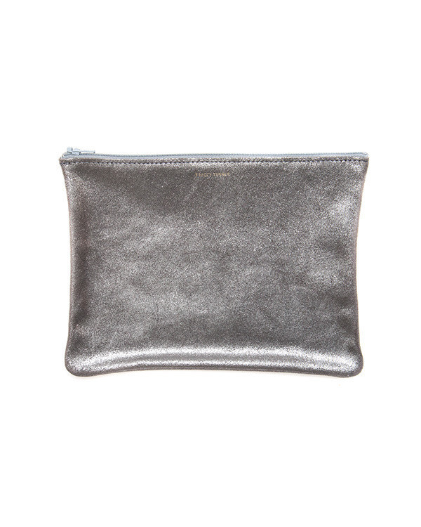 Tracey Tanner Large Flat Zip Pouch in Smoke Sparkle