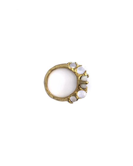 Unearthen Limarens Ring in Brass with Tabasco Geode + Quartz