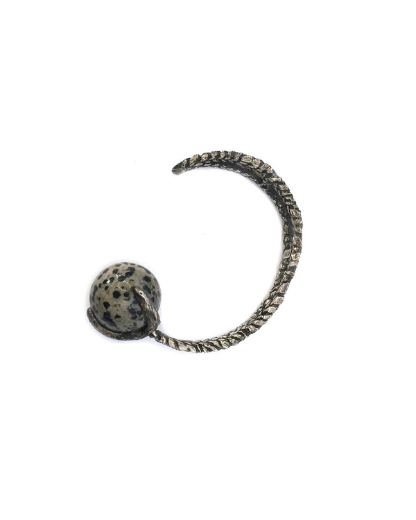 Unearthen Sphere Cuff in Sterling Silver with Dalmation Jasper